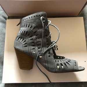 Lace up peep toes